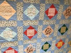 Vintage Handmade Full Size Quilt Square In A Square Colorful Cotton 78 X 88