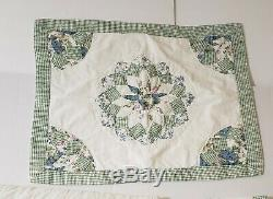 Vintage Handmade Full Size Quilted Bedspread and Two Shams 84.5 x 99.25