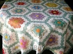 Vintage Handmade Grandma's Flower Garden Patchwork Block QUILT Size 71 x 88