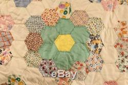 Vintage Handmade Grandmother Flower Garden Quilt