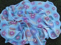 Vintage Handmade Grandmother Flower Garden Quilt Very soft Tiny Stitches