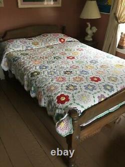 Vintage Handmade Grandmother's Flower Garden QuiltFeed Sacks68x86Ca. 30s