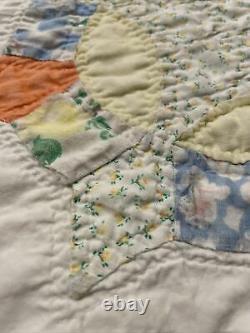 Vintage Handmade Granny Core Patchwork Hand Stitched Quilt Boho 76x83