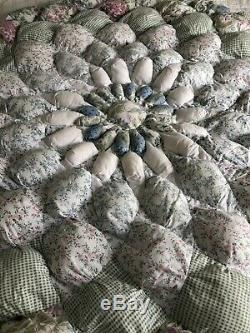 Vintage Handmade HAND STITCHED Lone Star/Dahlia Floral Puffy Quilt 84X86 LOVELY