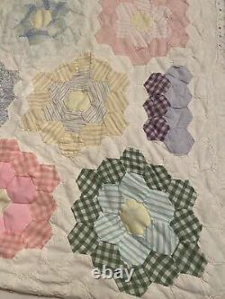 Vintage Handmade Hand Cut, Pieced, Sewn Grandmothers Flower Garden Quilt Top