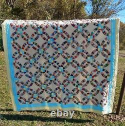 Vintage Handmade Hand Quilted Double Wedding Ring Quilt 74/87