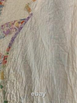 Vintage Handmade Hand Quilted Feed Sack Double Wedding Ring Quilt 76x94 #294