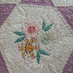 Vintage Handmade Hand Quilted Floral Star Pattern Quilt euc 120 yrs old