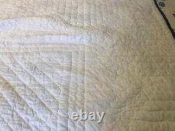 Vintage Handmade Hand Quilted Hand Cross Stitched Quilt Multicolor 86 x 92