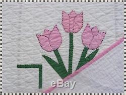 Vintage Handmade Hand Quilted Pink Appliqué Tulip Quilt 80 x 100 ESTATE FIND