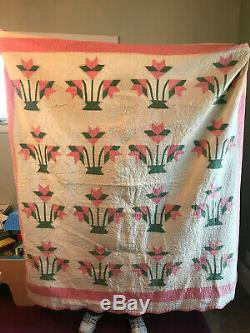 Vintage Handmade Hand Quilted Pink Appliqué Tulip Quilt 80 x 75
