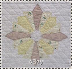 Vintage Handmade Hand Quilted Pinwheel Quilt 78 x 91 ESTATE FIND