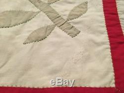 Vintage Handmade Hand Stitched Applique Flower Quilt 80x 82 Q46