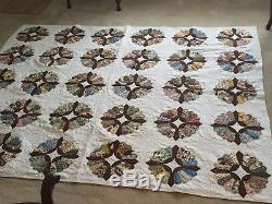 Vintage Handmade Hand Stitched Dresden Plate Quilt Signed King Size