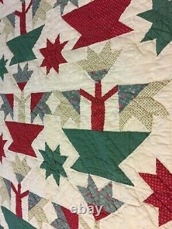 Vintage Handmade Hand Stitched Patchwork Quilt Basket Flowers Star 82x 86 Twin
