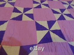 Vintage Handmade Hand Stitched Purple Pink Checker Board Geometric Quilt 84 x 74