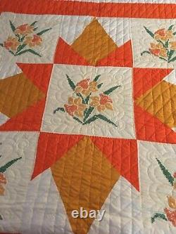 Vintage Handmade Hand Stitched QUEEN Size Quilt- Mid 1970s- NEVER USED
