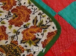 Vintage Handmade Hand Stitched Red Green Geometric Patchwork Quilt 89 x 76