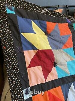 Vintage Handmade Hand Tied Patchwork Star Quilt
