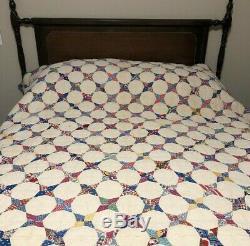 Vintage Handmade Hand stitched Quilt Pontiac Star Quilt Pattern 65 x 77