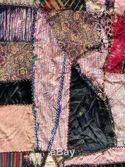 Vintage Handmade/Handstitched Tattered CRAZY Quilt Multicolor Mixed Pattern 1887