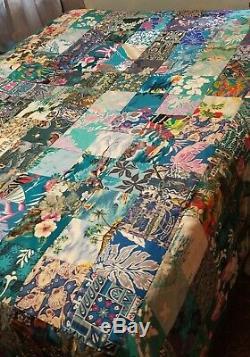 Vintage Handmade Hawaiian Patchwork Quilt Hand-Tied KING 100 x 102 ALOHA