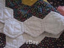 Vintage Handmade Hexie Grandmothers Flower Garden Patchwork Quilt 79 X 82