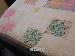 Vintage Handmade MAPLE LEAF QUILT Hand-Stitching- Vibrant Colors Estate