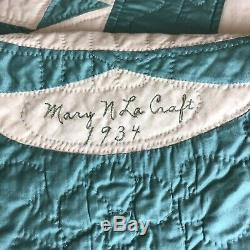 Vintage Handmade Mint Green Tulips/Basket Patchwork Signed 1923 Quilt 98x82