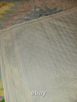 Vintage Handmade Multi Pastel Colors Starburst Quilted Quilt Never Used 84x94