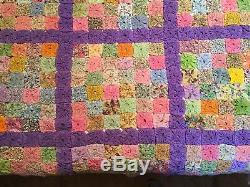 Vintage Handmade Multicolor YoYo Quilt Queen Bedspread Coverlet Blanket 96x96
