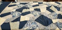 Vintage Handmade PATCHWORK QUILT 64 X 79 Cotton BLUES & WHITE -BED/TABLE COVER