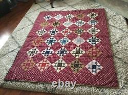Vintage Handmade Patchwork 8 Point Star Quilt