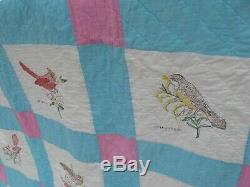 Vintage Handmade Patchwork & Painted State Bird Block Quilt, Full Size, 72 x 85