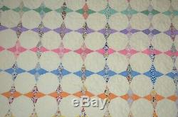 Vintage Handmade Patchwork Quilt 68x84 Pieced Multicolor Octagon Star Farmhouse