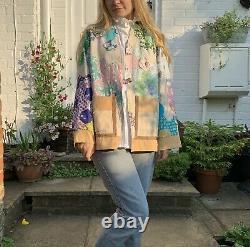 Vintage Handmade Patchwork Quilt Jacket Colourful Pastel L Cotton Hexagons