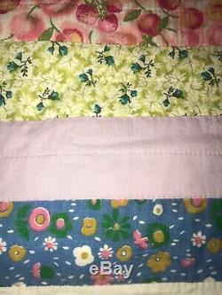 Vintage Handmade Patchwork Quilt Pennsylvania Dutch 80 x 85 1/2 Purple Border