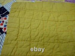 Vintage Handmade Patchwork Quilt in Blues, Purple, Golden Yellow