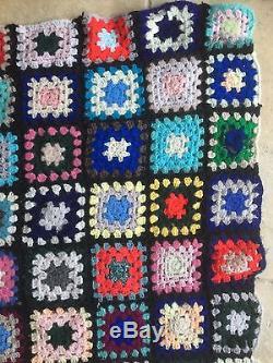 Vintage Handmade Patchwork Sewn Crochet Textile Bed Spread Throw Blanket Quilt