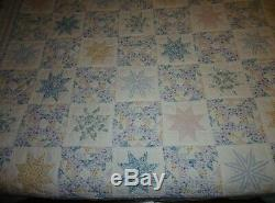 Vintage Handmade Patchwork Star Quilt White Blue Pastels 90X102 Queen BEAUTY A+