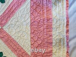 Vintage Handmade Pink Floral Roses Quilted Quilt Comforter Blanket 81 X 76