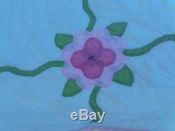 Vintage Handmade Pink & Green Floral Quilt Hand Appliqued & Quilted