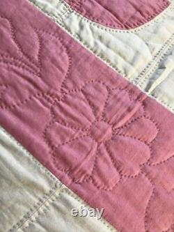 Vintage Handmade QUILT Pink White Cotton Hand-Quilted Full Size Double