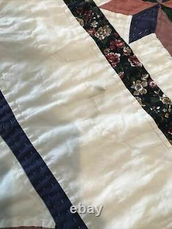 Vintage Handmade Quilt 92 x 72 Hand Stitched Blue Star Pink Green Multi Color