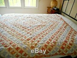 Vintage Handmade Quilt-Artisan Quilt-HAND STITCHED-Cathedral Window Pattern