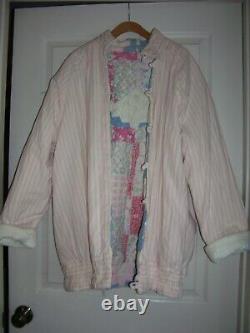 Vintage Handmade Quilt Coat Jacket Reversible Patchwork Quilted