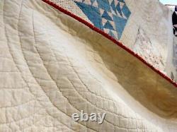 Vintage Handmade Quilt Cross In Diamond White Back 74x78