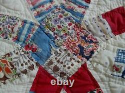 Vintage Handmade Quilt DOUBLE WEDDING RINGHand QuiltedNovelty Prints Florals