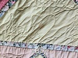 Vintage Handmade Quilt Done In Stars And Muilty Colors