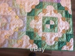 Vintage Handmade Quilt Drunkards Path Feed sack Depression Era